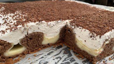 Photo of Propadávaný koláč s pudinkem a zakysanou smetanou